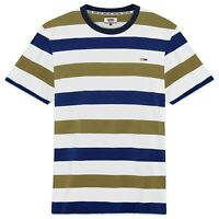Tommy Hilfiger T-Shirt - Tommy Jeans Textured Stripe Tee - Olive/White - BNWT