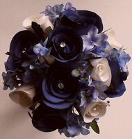 Bride Bridesmaids Flowergirl Hydrangea Silk Rose Flower Wedding Bouquet Posy