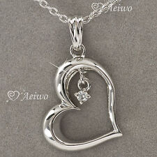 9K GF 9CT WHITE GOLD MADE WITH SWAROVSKI CRYSTAL HEART PENDANT NECKLACE