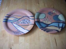2 KMK Kupfermühle Keramik Wandteller Terracotta Toscana selten