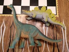 Lot of 2 Hard Plastic / Rubber Dinosaurs Brachiosaurus -2005 & Stegosaurus 1997