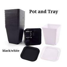 7cm Plastic Black and White Square Flower Seedling Pot Gardening Tools Succulent
