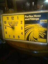 Illuminated Vintage Parker Parflex Hose Clock As Found condition. WORKS GREAT
