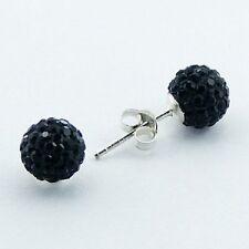 bling earrings 8mm swarovski crystal 925 silver stud shamballa black