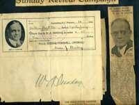 Billy Sunday JSA Coa Autograph Hand Signed 1922 Donation Receipt