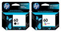 HP 60 Black + 60 Tri-Color Ink Cartridge Combo Pack (N9H63FN), EXP 2019-2020
