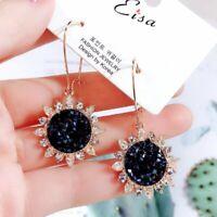 Fashion Sunflower Rhinestone Drop Dangle Hoop Earrings Women Wedding Jewelry HOT