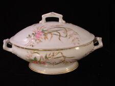 1894 Antique White Deliniers & Company Bowl / Lid - Limoges ~floral design