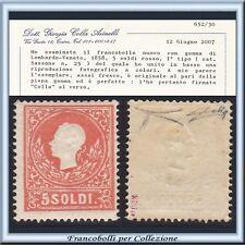 ASI 1858 Lombardo Veneto 5 soldi rosso n. 25 Certificato Nuovo Integro Antichi I