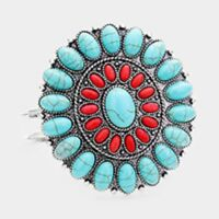 SQUASH BLOSSOM BRACELET in red, turquoise and silver tone
