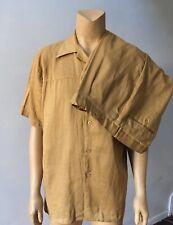 Men's Linen 2 Piece Brown Short Sleeve Button Shirt Pants Suit Size 2Xl