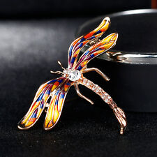 Women Multicolor Enamel Rhinestone Insect Dragonfly Brooch Pin Jewelry Fashion