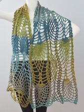 New Handmade Crochet Blue Brown Soft Acrylic Pineapple Caress Shawl Wrap Scarf