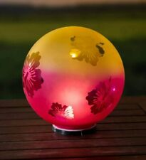 Plow & Hearth Lighted Etched Glass Garden Globe