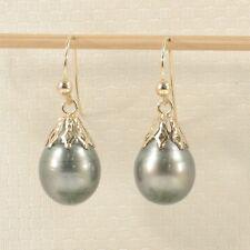 Baroque Tahitian pearl Drop/Dangle Earrings; 14k Yellow Solid Gold TPJ