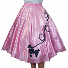 "New Pink SATIN 50s Poodle Skirt _ Adult Size SMALL _ Waist 25""- 32"" _ Length 25"""