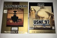 Lot Of 2 JANES Combat Simulator PC Games LONGBOW GOLD & USNF'97 Complete Vintage