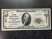 1929 UNITED STATES IRONWOOD MICHIGAN $10 NATIONAL CURRENCY VERY LOW NUMBER RARE!