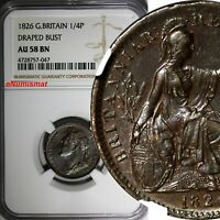 Great Britain George IV Copper 1826 Farthing NGC AU58 BN BETTER DATE KM# 677