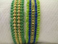 Set Of Two Hand MadeTonal Pull Museo Bracelets In Blue/Green Tones By Pink House