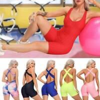 Fittoo Women's Short Yoga Jumpsuit Anti Cellulite Leggings Gym Romper Bodysuit