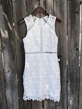 Lulus Light Ivory Wedding Guest Party Crochet Nude Short Dress Med Lace