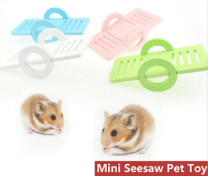 Fun Pet Hamster Seesaw Toy Natural Wood Mouse Small Animal Cage Accessories