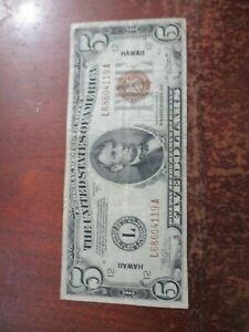"""1934-A $5 FIVE DOLLARS """"HAWAII"""" FRN FEDERAL RESERVE NOTE YOU GRADE"""