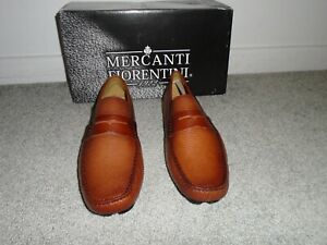 Mercanti Fiorenti Brown Leather Loafers Made In Brazil Size 8.5 Floor Sample NEW