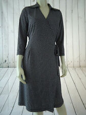 UNIFORM JOHN PAUL RICHARD Dress M Poly Knit Wrap Retro Black White Circle Print