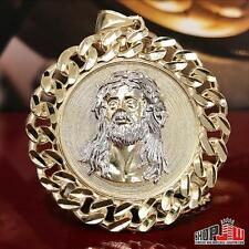 Mens Real 10k Gold Jesus Piece Pendant Medallion Cuban Link Bezel XL Circle