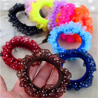10X Beautiful Lace Girls Elastic Hair Band Hair Rope Scrunchie Ponytail Holder F