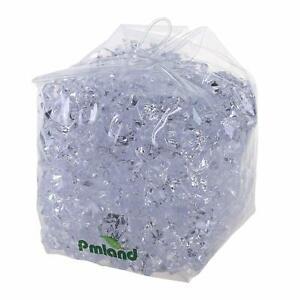 PMLAND Clear Acrylic Ice Rocks Crystals Cubes Gems 3lbs Bulk Bag for Table Decor