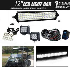 """12"""" LED Work Light Bar Flood Spot 4""""Pods Cube Combo For John Deere Super White"""