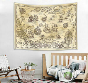 Vintage Pirate Ship Map Bedroom Tapestry Wall Hanging Home Blankets Dorm Decor