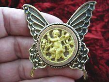cs54-3) Cherub garden tan + ivory Cameo butterfly Pin Pendant Jewelry brooch