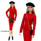 "ELENPRIV FAO-002 Red dress beret bag Barbie Pivotal MTM Poppy Parker 12"" doll"