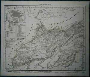 1849 Sohr Berghaus map MOROCCO, WITH PLAN OF MARRAKESH (#25)