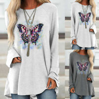Womens Butterfly Print Blouse Long Sleeve T Shirt Ladies Casual Tunic Shirt Top