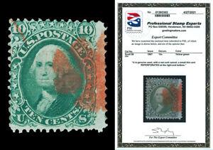 Scott 96 1868 10c Washington F-Grill Used Fine w/ Red Cxl Cat $285 with PSE CERT