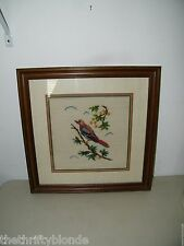 Vintage Framed Needlepoint Finished Bird  17277 Blue Wings