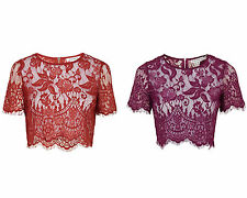 Scoop Neck Cropped Floral Tops & Blouses for Women