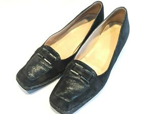 Amalfi by Rangoni black Suede loafers low heel Size 9C made in Italy