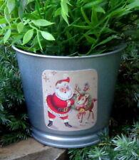 Santa & reindeer, metal silver planter, stocking stuffer, vintage Christmas card