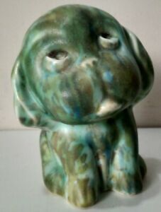 Vintage 1940s SylvaC-Style Green/Brown DOG Ceramic Pottery Cute Kitsch