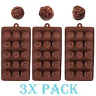 Set 3 Pack Chocolate Silicone Sunflower & Rose Flower Mold candy Ice cube Soap