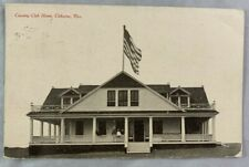 Antique Postcard 1908 Country Club Home Cleburne Texas United States Flag