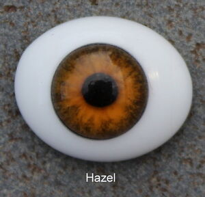 Solid Glass, Flatback Oval Paperweight Eyes - Hazel, 12mm