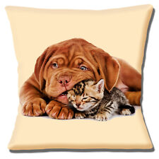 "CUTE BORDEAUX PUPPY DOG & TABBY KITTEN PRINT ON CREAM  16"" Pillow Cushion Cover"