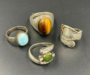 4 Vintage Silver and White Gold Rings
